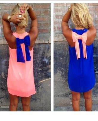 dress blue dress bow back dress model flowy dress small nose ring no pattern summer dress