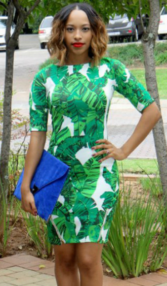 dress green tropical fashion girly outfit summer spring look clutch bag white blue bodycon dress