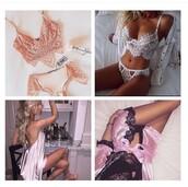 underwear,robe,pink,black,white,lingerie,lingerie set,bra,bralette,lace bralette,lace,thong,panties,dress,navy