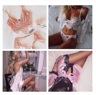 underwear robe pink black white lingerie lingerie set bra bralette lace bralette lace thong panties dress