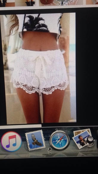 shorts white lace white lace cute pretty adorbs flawless