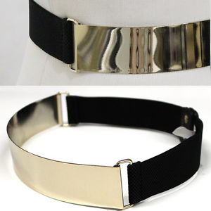 Bling Mirror Metal Gold Plate Wide Belt Leather Band Elastic Metallic OBI Waist | eBay