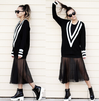 streetstyle i4out look lookbook v neck sweater sweater shirt streetwear black and white chanel see through