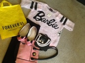 barbie sweatshirt,Baebieforever21,forever 21,barbie logo,barbie,outfit,pink,purse,handbag,hanna marin,black,leggings,vintage,jewels,vince camuto,shorts,flats,pearl,Pinj,pinkpurse,yellow,blonde hair,Barbiegirl,diamonds,pinkdiamond,accessories,necklace,earrings,crystal,crystal headpiece,crystal earrings,sweatpants,clothes,sweater,express,Expressstore,Vintagebarbie,Vincecamutoshoes,kim kardashian,bottoms,ear cuff,dragon,stones,jewelery