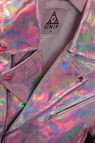 jacket unif holographic 90s style grunge pastel