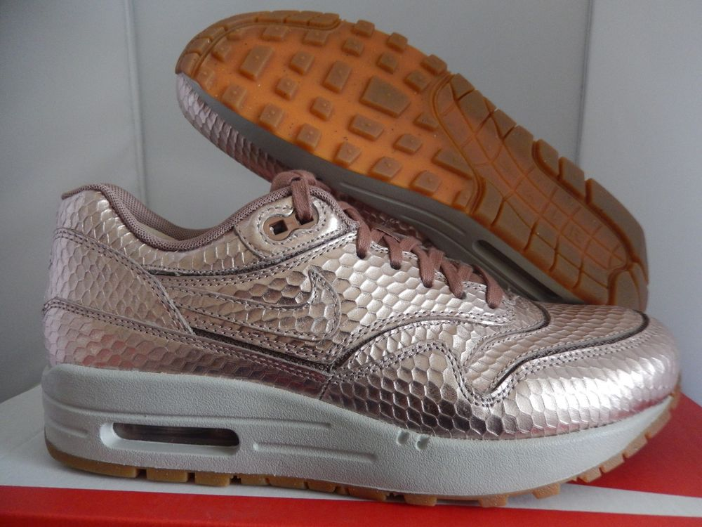new product b73d3 dd92d wmns nike air max 1 cut out prm premium metallic red bronze sz 6.5