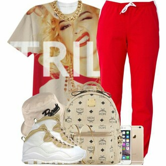 printed t-shirt mcm rita ora red trill dope jordans sun hat urban mcm bag gold chain prada iphone hipster outfit idea joggers pants