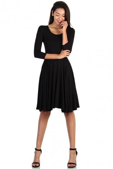 Length Midi Skater Dress - Black