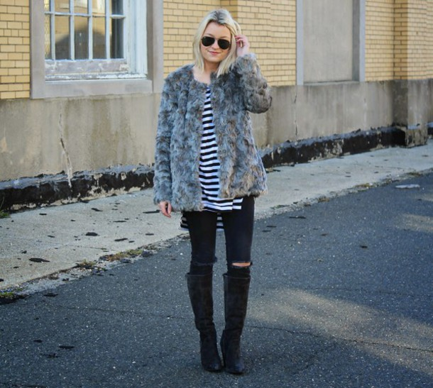 platinum and penniless blogger fluffy knee high boots stripes