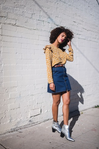 five friday faves (no. 9) blogger top skirt shoes ankle boots blouse denim skirt metallic boots