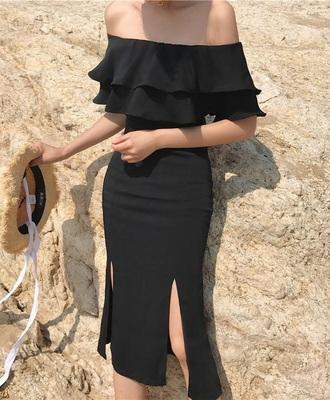 dress girly black dress black off the shoulder off the shoulder dress bodycon dress