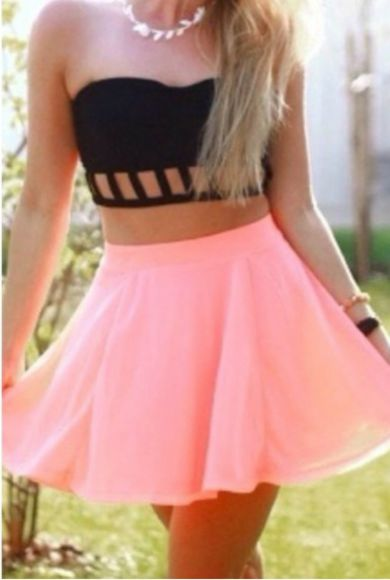 pink skirt black crop top top white necklace leaf necklace white leaf necklace strapless crop top strapless black crop top caged crop top caged black top caged black crop top pink skater skirt jewels