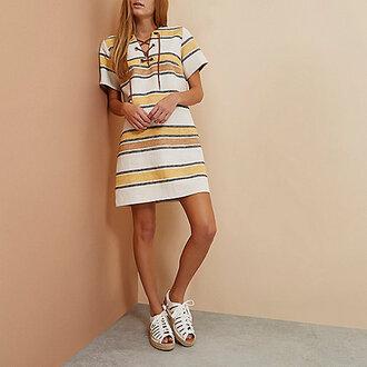 dress spring dress spring stripes striped dress yellow yellow dress lace up dress lace up blouse