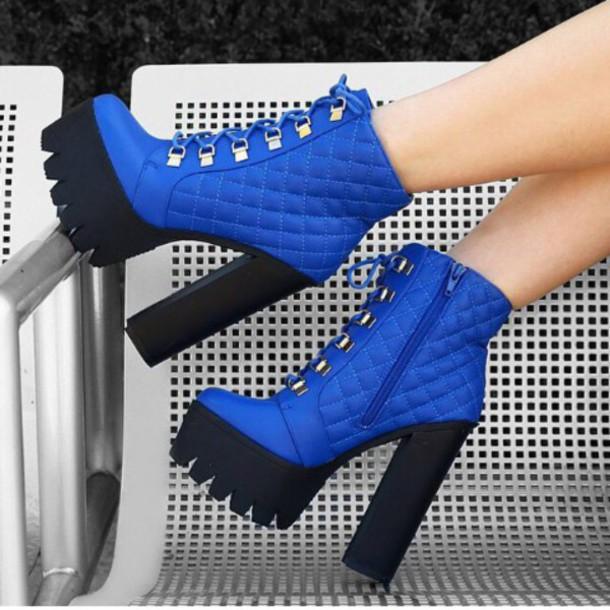 shoes blue platforms