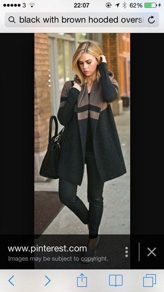 coat black with brown oversized hooded coat