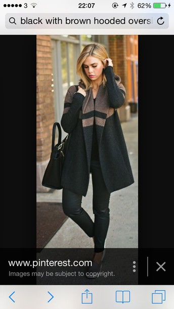 Coat: black with brown oversized hooded coat, sweater, black and ...