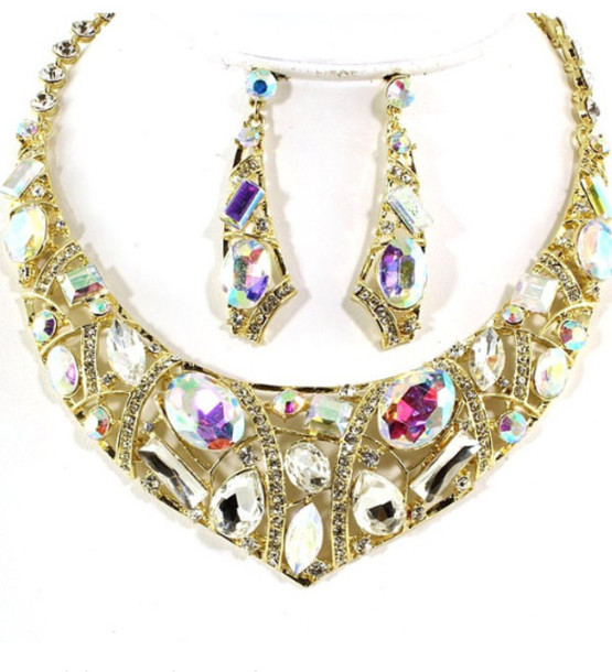 jewels rhinestones swarovski stone necklace set bling gold