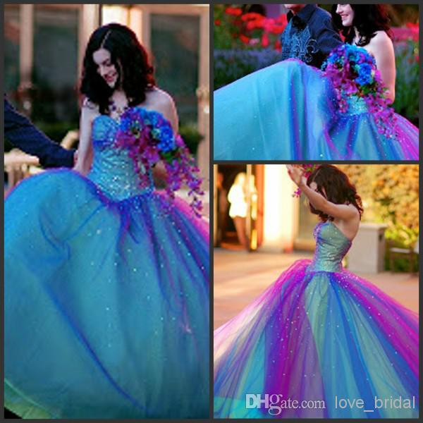 Tone beaded blue purple sweetheart tulle floor length prom dresses/quinceanera gowns