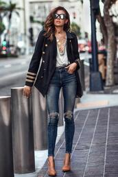 fashionedchic,blogger,jacket,tank top,jeans,shoes,bag,jewels,sunglasses,pumps,blazer