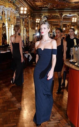 dress rosie huntington-whiteley maxi dress dark blue navy