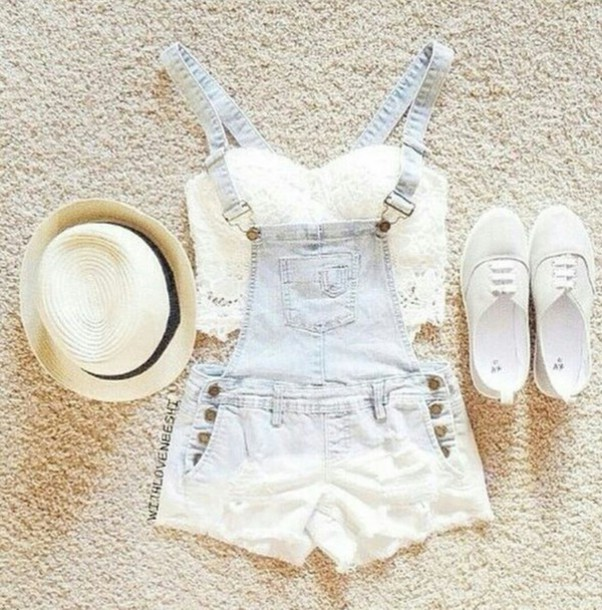 hat fadora hat white shoes overalls