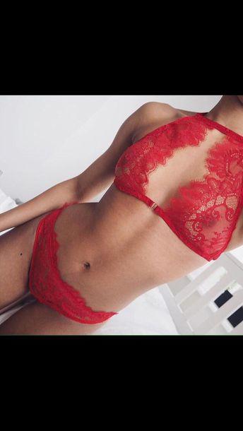 f234471cd75 underwear, red, lingerie set, lace lingerie, red lingerie, cute, hot ...