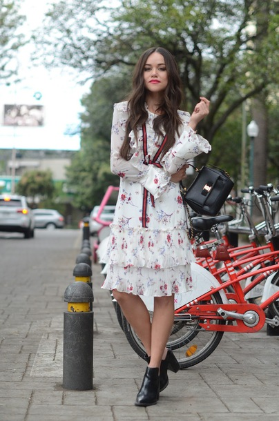 dress tumblr white dress floral floral dress midi dress long sleeves long  sleeve dress boots black 47af98c78