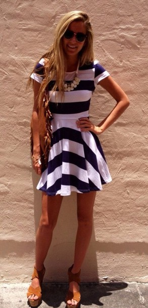 dress short sleeve dress striped dress