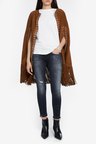 poncho women suede brown top