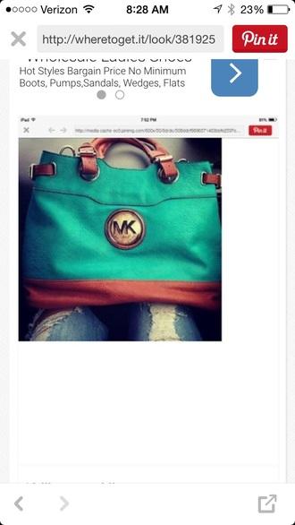 bag teal leather mk handbags