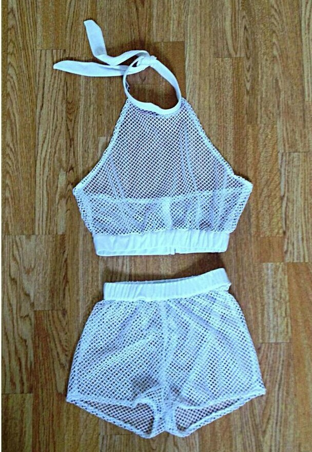Fashion Summer Trends Black and White Shorts See Through Outfit Two Piece Set Mesh Top Crop Tops Sporty Athletic LQ4495-in Camis from Apparel & Accessories on Aliexpress.com
