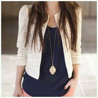 jacket brown hair vintage necklace white white jacket blue shirt navy blue pink pants pink necklace vintage nails hair brunette