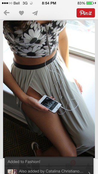 skirt maxi skirt slitted maxi skirt slit skirt grey skirt
