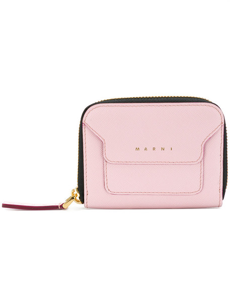 Marni - panelled coin purse - women - Calf Leather/Goat Skin - One Size, Pink/Purple, Calf Leather/Goat Skin