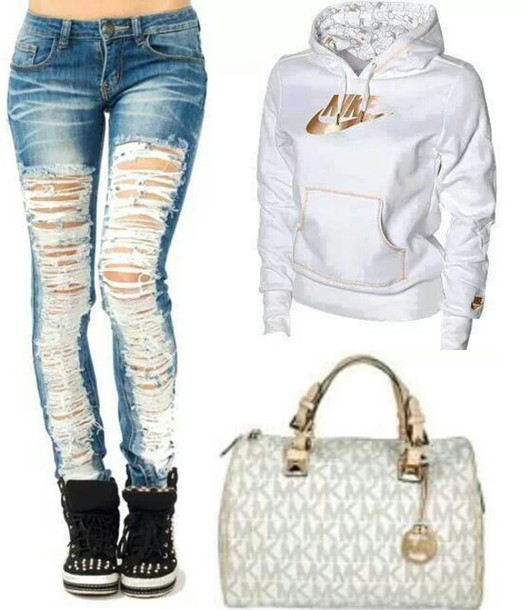Sweater: nike white sweater, gold nike check - Wheretoget
