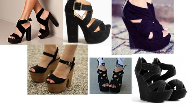 shoes platform shoes shoes black wedges shoes black grunge flat high heels wooden heel black heels black