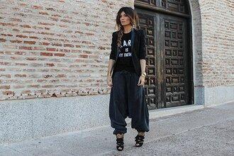 madame rosa blogger jacket pants t-shirt jewels shoes