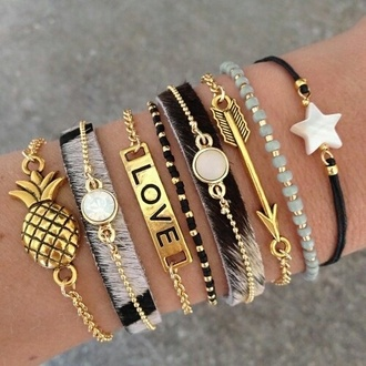 jewels love pineapple black gold bracelets arrow stars cool gogolush hobo stacked bracelets layered black and gold accessory accessories fashion jewelry