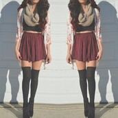 scarf,skirt,burgundy,floral cardigan,red,skater skirt,shirt,where can i get all this from!??,underwear,shoes,dress,help me i need all of this,blouse,sweater,floral,cardigan,flower cardigan,jacket,cute,soft,flowy,high waisted skirt,crop tops,colorful,black top,sommer,sweet,red skater skirt,socks,fashion,style,hipster,black,tumblr outfit,tumblr,flowers,belt,entire outfit,top