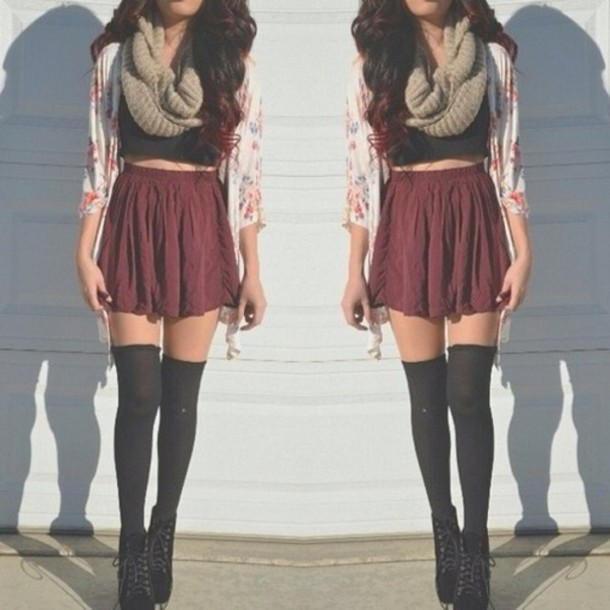 scarf skirt burgundy floral cardigan red skater skirt shirt where can i get all this from!?? underwear shoes dress help me i need all of this blouse sweater floral cardigan flower cardigan jacket cute cardigan burgundy soft flowy high waisted skirt crop tops colorful black top sommer sweet red skater skirt socks fashion style hipster black tumblr outfit tumblr flowers belt entire outfit top