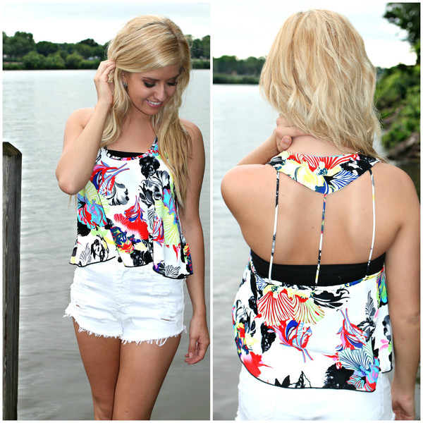 Tropical Floral Tank | uoionline.com: Women's Clothing Boutique