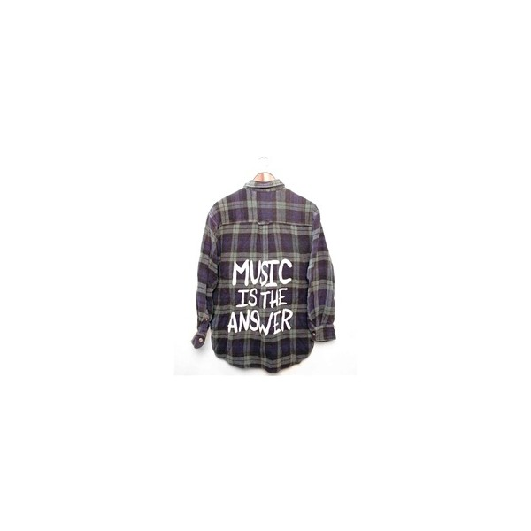 MUSIC IS THE ANSWER Vintage Flannel Shirt - LARGE - 00905 - Polyvore