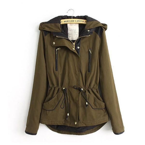 coat fashion hood slim blouse