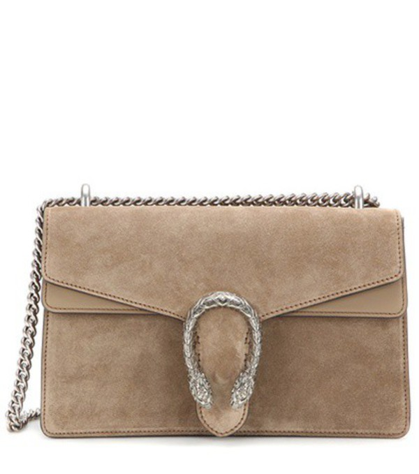 Gucci Dionysus Small suede and leather shoulder bag in beige / beige