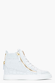 Giuseppe Zanotti Oyster Grey Croc-embossed Leather London Sneakers for men | SSENSE