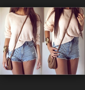 shorts knit studded shorts white tops
