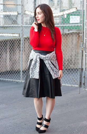 adventures in fashion blogger red sweater leather skirt grey sweater