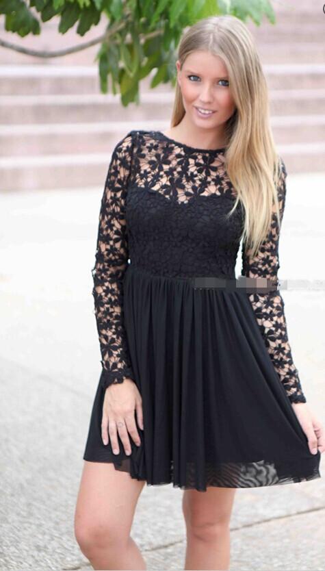 Hot lace flower cute dress