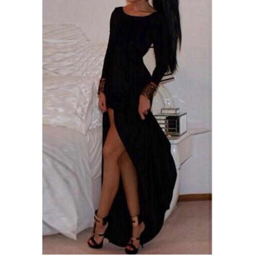 Furcal dress for women black (alluring scoop neck long sleeve solid color high