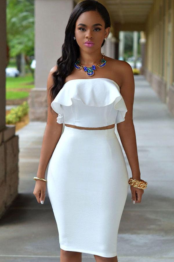 14b961054 White Ruffle Strapless Bodycon 2pc Dress